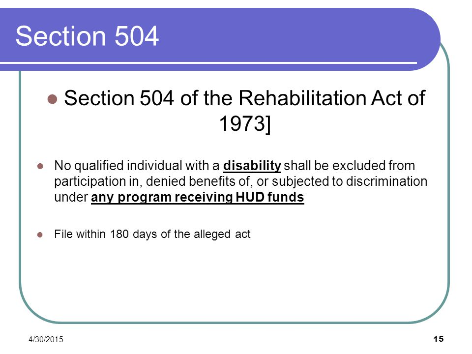 Section 504 of the Rehabilitation Act of 1973]